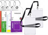 Best Cruise Tags Luggage Etag Holders Zip Seal & Steel Loops Thick Pvc